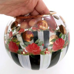 MCKENZIE CHILDS Glass Painted Floral Bowl Vase